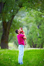 Father and son playing outdoors in spring forest happy Royalty Free Stock Photography