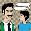 Father and son pop art cartoons style illustration of a conversation over a background with dots Stock Images