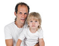 Father an son portrait of and on white background Stock Images