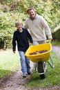Father and son pushing wheelbarrow Royalty Free Stock Photos