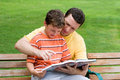 Father and son reading Royalty Free Stock Photo