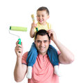 Father and son ready to paint the room Royalty Free Stock Photo