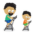 Father and son riding exercise bikes illustration of a Royalty Free Stock Photos