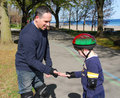 Father and son rollerblading Royalty Free Stock Photos