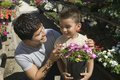 Father and son shopping for plants in plant nursery close up Stock Photo