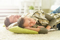 Father and son sleeping at home Royalty Free Stock Photo