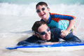 Father and son surfing on boogie boards Royalty Free Stock Photo