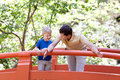 Father and son together family of two walking at japanese garden Royalty Free Stock Photo