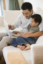 Father and son using a laptop Royalty Free Stock Photo
