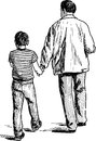 Father and son vector drawing of the walking man with him child Royalty Free Stock Photo