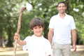 Father and son walking Royalty Free Stock Image
