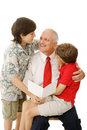 Father and Sons with Greeting Card Stock Photos