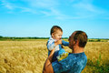 The father is talking to his daughter happy smiling child with the parent family portrait father s day Stock Photo