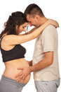 Father touching pregnant tummy Royalty Free Stock Photos