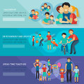 Fatherhood Banner Set Royalty Free Stock Photo