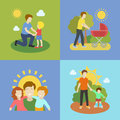 Fatherhood   father playing with children   illustration. Royalty Free Stock Photo