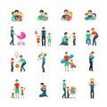 Fatherhood Flat Icons Royalty Free Stock Photo