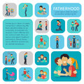 Fatherhood Flat Icons Set Royalty Free Stock Photo