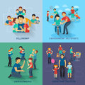 Fatherhood Flat Set Royalty Free Stock Photo