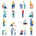 Fatherhood icons set Royalty Free Stock Photo