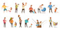 Fatherhood Retro Cartoon Icons Set Royalty Free Stock Photo