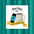Fathers day card, best dad ever. coffe cup watch accessorie gift Royalty Free Stock Photo