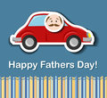 Fathers day card with cartoon car and father head sticker eps Stock Photography