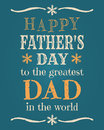 Fathers day card greeting template for Stock Image
