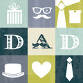 Fathers day card retro style vector illustration Royalty Free Stock Images