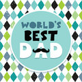 Fathers day card text frame diamond pattern greeting or menu template for father s with hand made and mustache banner argyle Royalty Free Stock Image