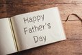Fathers day composition photo album with happy sign studio shot on wooden background Royalty Free Stock Photos