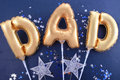 Fathers Day gold Dad balloons. Royalty Free Stock Photo