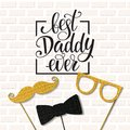 Fathers Day lettering. Props for photos with glitter texture. Summer holidays. Royalty Free Stock Photo