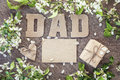 Fathers Day message from cardboard letters, blank card and a gif