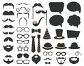 Fathers day photo booth props. Photo booth speech bubble, moustaches, glasses and beard props. Happy fathers day photo Royalty Free Stock Photo