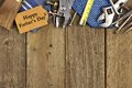 Fathers Day tag with tools and ties border on wood Royalty Free Stock Photo