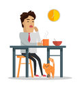 Fatigue After Work Day Flat Style Illustration