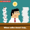 Fatigued and exhausted executive late at work business life when coffee doesn t help vector illustration Stock Images
