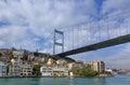 Fatih Sultan Mehmet Bridge over Hisarustu neighborhood, Istanbul, Turkey Royalty Free Stock Photo