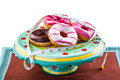 Fattening donuts some delicious and colorful with measuring tape Stock Photography