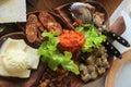 Fatty foods serbian in ethno restaurants Stock Photo