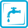 Faucet in frame tap water symbol blue and washbasin Stock Photos