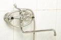 Faucet problem in the bathroom plumbing process repairing leaking tap Stock Images