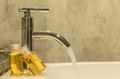 Faucet water from in bathroom butique style Royalty Free Stock Photo