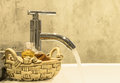 Faucet water from in bathroom butique style Royalty Free Stock Images