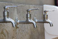 Faucets in the bathroom silver Stock Photo