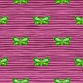 Fauna abstract seamless pattern with green bright folk butterfly shapes. Pink striped background Royalty Free Stock Photo