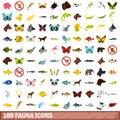 100 fauna icons set, flat style Royalty Free Stock Photo