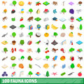 100 fauna icons set, isometric 3d style