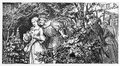 Faust illustration classic depicting and gretchen in the garden mephisto and the neighbor at the background drawn by august von Stock Photo